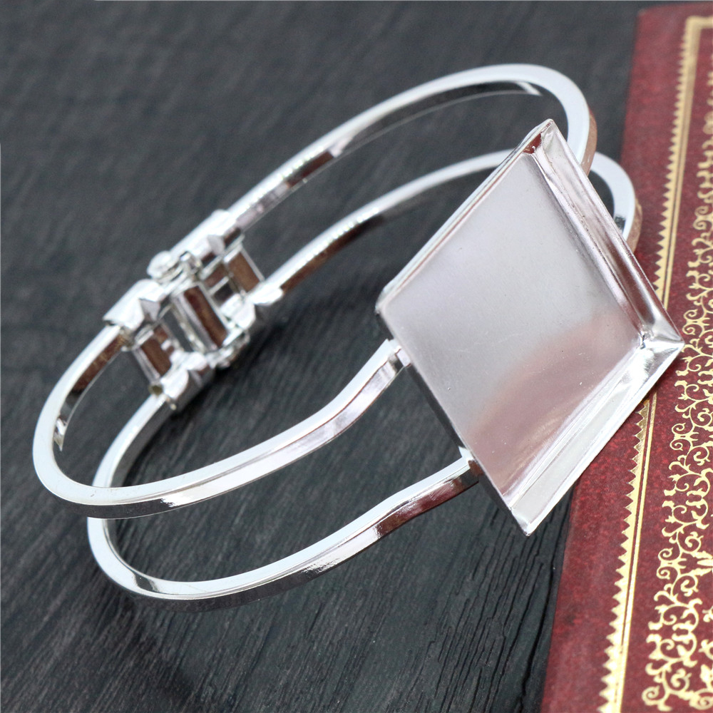High Quality  25mm Silver Plated Square Bangle Base Bracelet Blank Findings Tray Bezel Setting Cabochon Cameo  (L6-29)