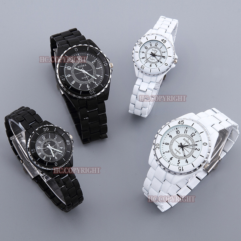 New Fashion White/Black Stainless Steel Band Buckle Design Quartz Analog Wrist Watches Lover Couple Watches Men Women Clock