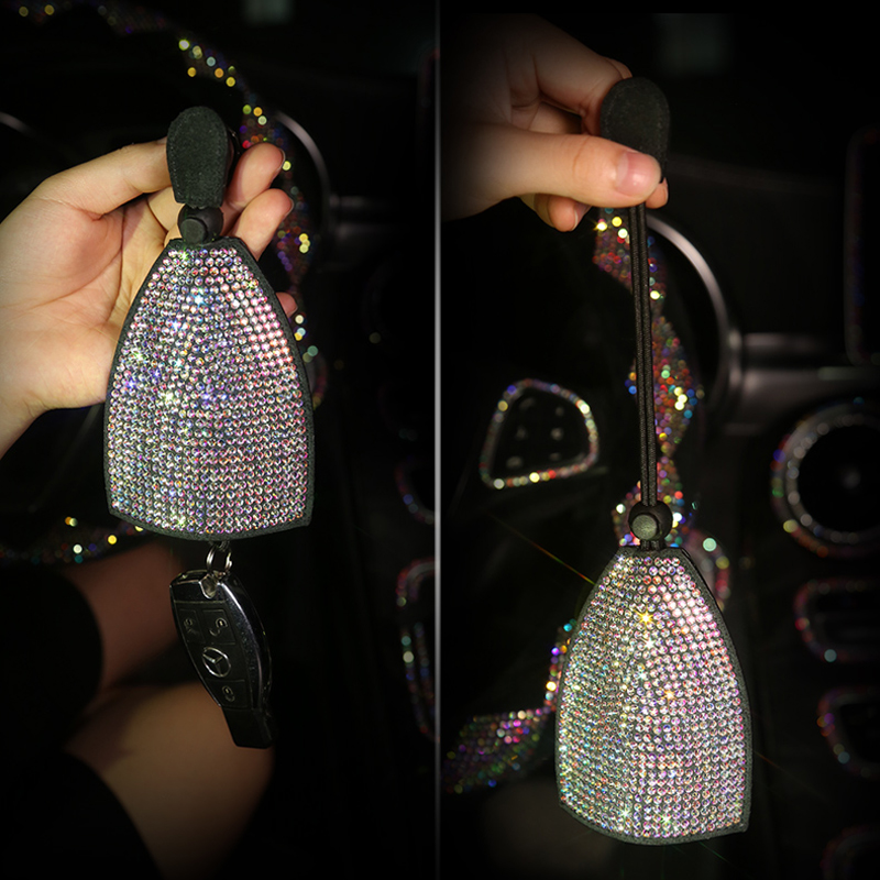 key case for women rhinestone car accessories bling girls diamond keychian fob cover key holder keyring for mini vw bmw benz etc