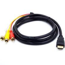 Nouveau Portable Hdmi mâle à 3rca Av Composite mâle M/m connecteur adaptateur câble cordon émetteur Dvd Hdtv récepteurs téléviseurs