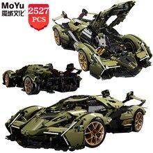 MOYU Moc high-tech seria V12 zielona koncepcja słynne samochody sportowe klocki Creator cegły zabawki edukacyjne dla dzieci prezenty