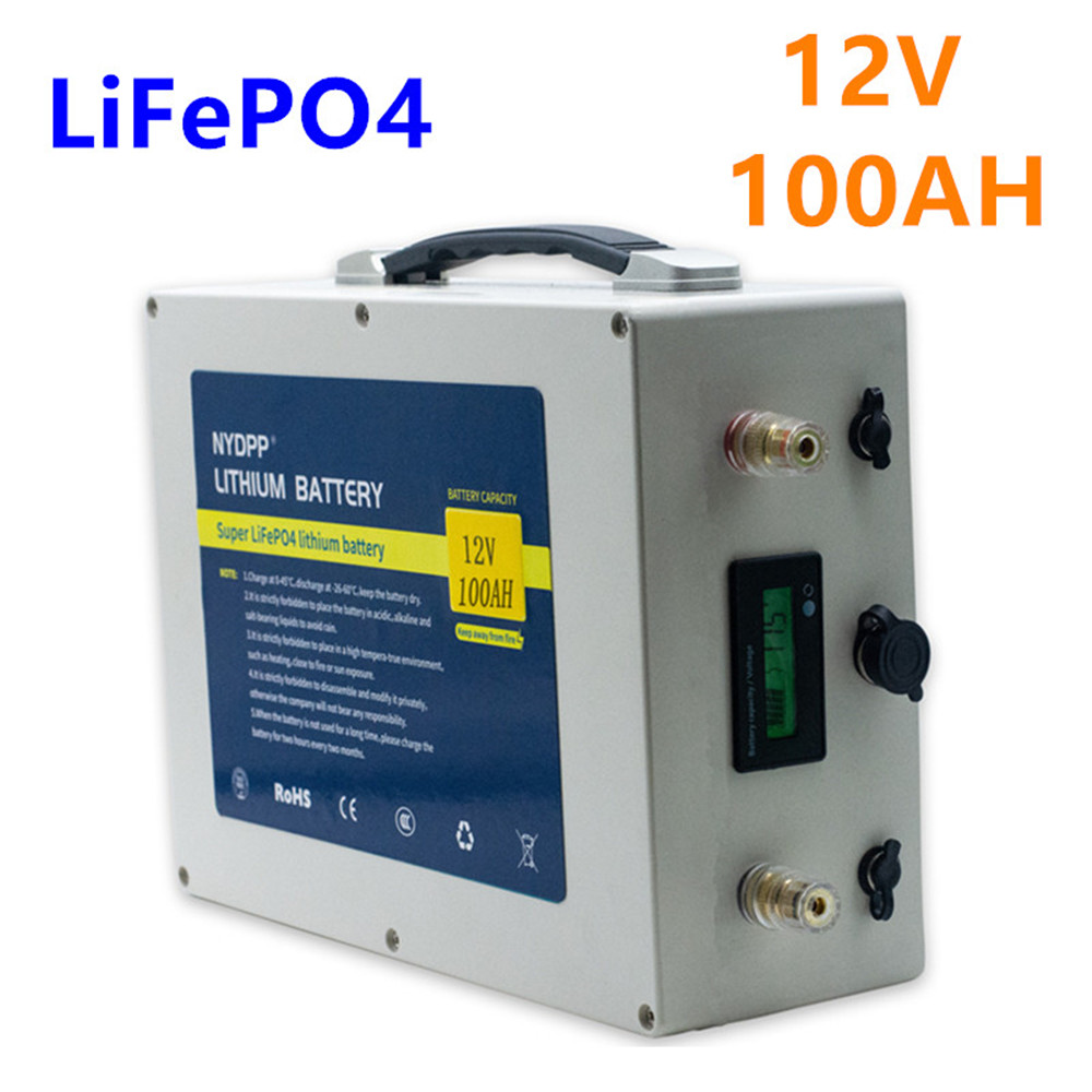 <font><b>12v</b></font> <font><b>Lifepo4</b></font> <font><b>100ah</b></font> <font><b>lifepo4</b></font> <font><b>battery</b></font> pack <font><b>lifepo4</b></font> 12V100AH lithium <font><b>battery</b></font> pack with 10A charger for inverter,electric motor image
