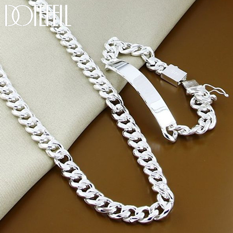 DOTEFFIL 925 srebro 22 Cal 10mm boczny łańcuszek naszyjnik 8 Cal bransoletka dla mężczyzn Party dominujące biżuteria