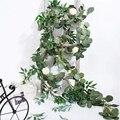 6.5-pé artificial eucalipto guirlanda e 6-pé salgueiro videira ramos folha guirlanda corda porta verde guirlanda decoração de interiores