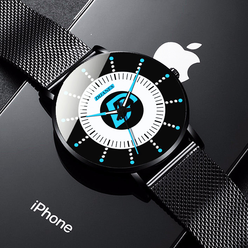 DIJANES Fashion Mens Minimalism Watches Men Business Luminous Clock Classic Black Steel Mesh Belt Quartz Watch Relogio Masculino