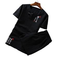 Мужской комплект из 2 предметов, хлопковая и льняная ткань в китайском ретро стиле с вышивкой и коротким рукавом, большие размеры 6XL, лето 2020