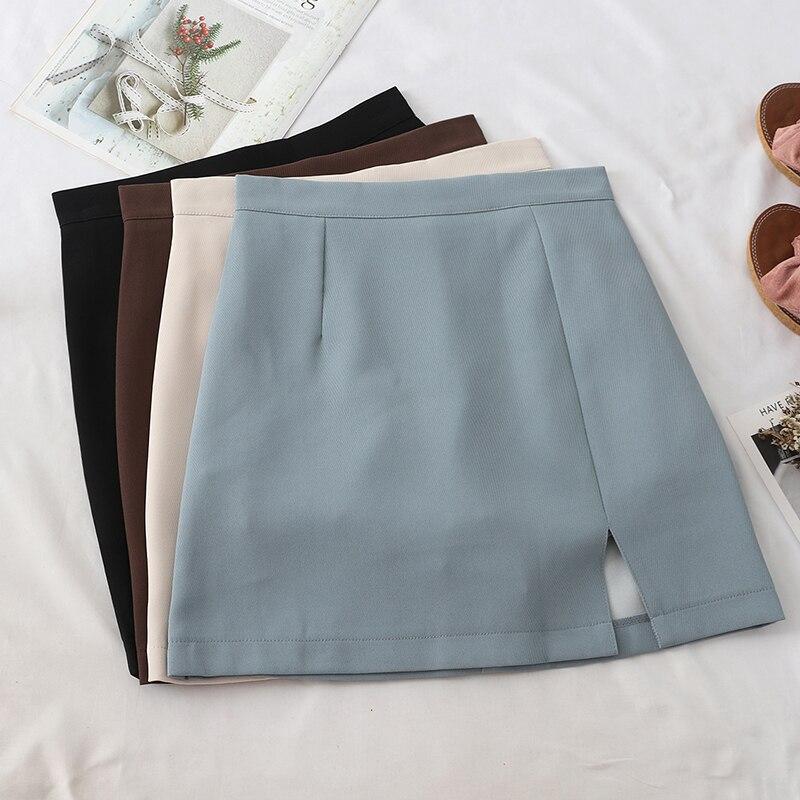 HELIAR Englend Style Silt Mini Skirt Women High-waist Bodycon Skirts Sexy Club Skirts 2020 Spring Female A-line Skirts For Women