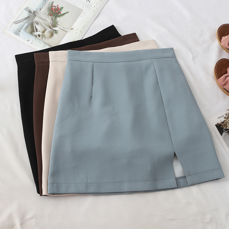 HELIAR Skirt Women Englend Style Split Mini High-waist Bodycon Skirts Sexy Club Skirt 2020 Summer Female A-line Skirts For Women