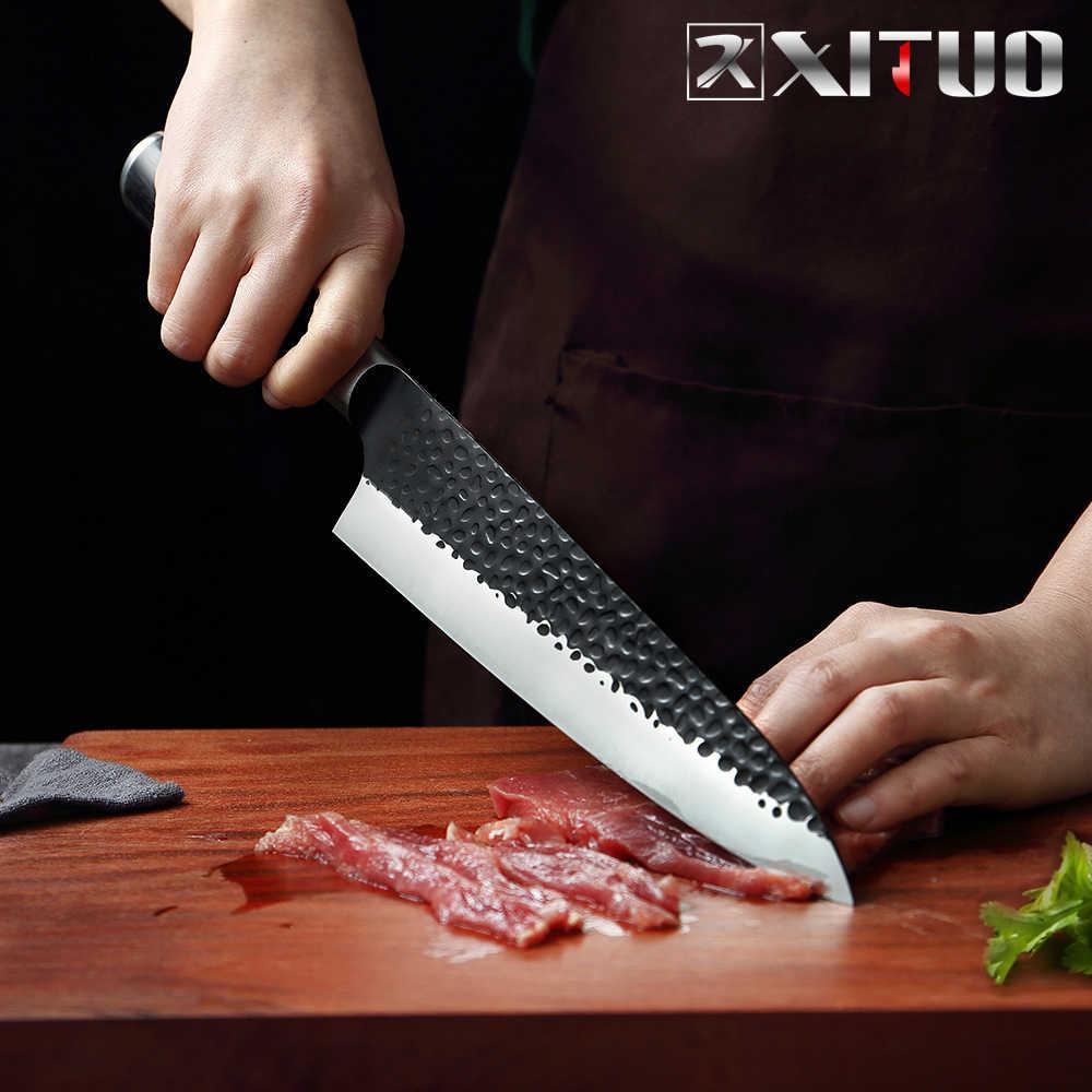 XITUO 8 นิ้วมีดเชฟมือเหล็กคาร์บอนสูงญี่ปุ่นมีด Non-Stick SHARP Cleaver ผักมีดสีดำรอบจับ