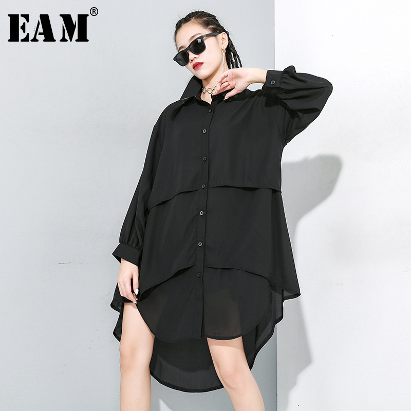 [EAM] Women Black Asymmetrical Split Joint Blouse New Lapel Long Sleeve Loose Fit Shirt Fashion Tide Spring Autumn 2020 1M906