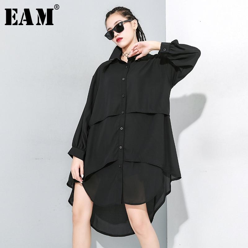[EAM] Women Black Asymmetrical Split Joint Blouse New Lapel Long Sleeve Loose Fit Shirt Fashion Tide Spring Autumn 2020 1M906