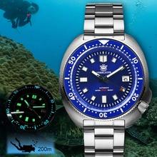 สตีลAbaloneดำน้ำ200Mกันน้ำอัตโนมัตินาฬิกาผู้ชายไพลินคริสตัลสแตนเลสNH35ผู้ชายอัตโนมัติ