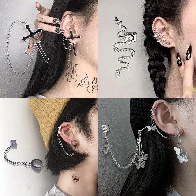 New Fashion Punk Butterfly Clip Earring for Teens Women Men Ear Cuffs Zinc Alloy Cool Jewelry Vintage Retro Chain Earings Metal