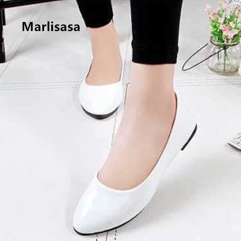 Women Cute Sweet White Patent Leather Comfort Office Flat Shoes Ladies Casual Black Stylish Flats Female Casual Shoes G5710b
