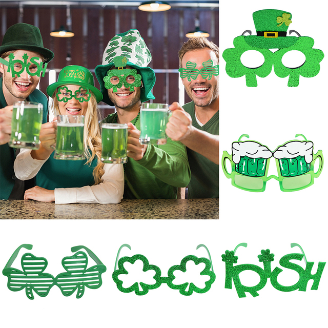 Saint Patrick's Day Props Green Clover Photography Photobooth Glasses Ireland Festival Dress Up for Kids/Adult St. Patrick Decor 1