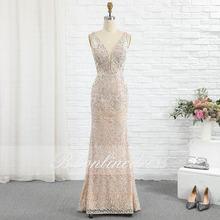 Женское вечернее платье русалка Элегантное Длинное цвета шампанского