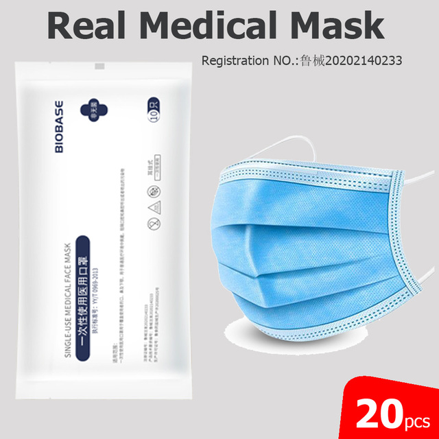 20pcs BIOBASE Disposable Medical Mask Pollution Dustproof Meltblown Real Medical One Time Single Use
