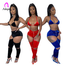 2020 Spaghetti Straps Women Sexy Night Club Velvet Two Piece Set Club Party Suit Bra Top Cut Out Pants Female Fashion Outfits spaghetti straps string high cut two piece swimsuit