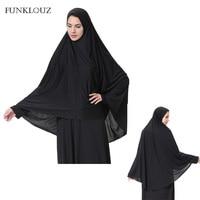 Funklouz Muslim Long Hijab Chiffon Niqab Burqa Turban Islamic Loop Scarf Women Headscarf Prayer Clothing