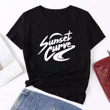 Seeyoushy mulher tshirts pôr-do-sol curva impressão topos para adolescentes algodão harajuku camisetas gráficas casual tripulação pescoço roupas femme mais tamanho