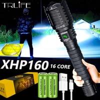 5000MAH XHP160 XHP100 Leistungsstarke LED Taschenlampe USB Aufladen Zoom Taschenlampe IPX-6 Wasserdichte Taktische Flash Licht durch 26650/18650