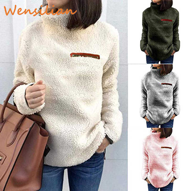 Sweater Pullovers Women Clothing Casual Turtleneck Sweater Fashion Fluffy Autumn Winter Long Sleeve 2019 Sueter Mujer Invierno
