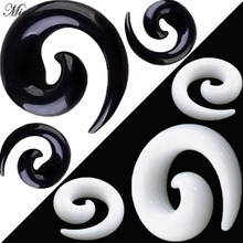 Miqiao Earphone Acupuncture Snail Tunnel Plugs Spiral Taper Flesh Gauge Ear Expander Stretching  Body Tunnel Jewelry 2x 316l surgical steel ear flesh tunnel plugs anodized without thread double flared hollow screw ear expander gauge body jewelry