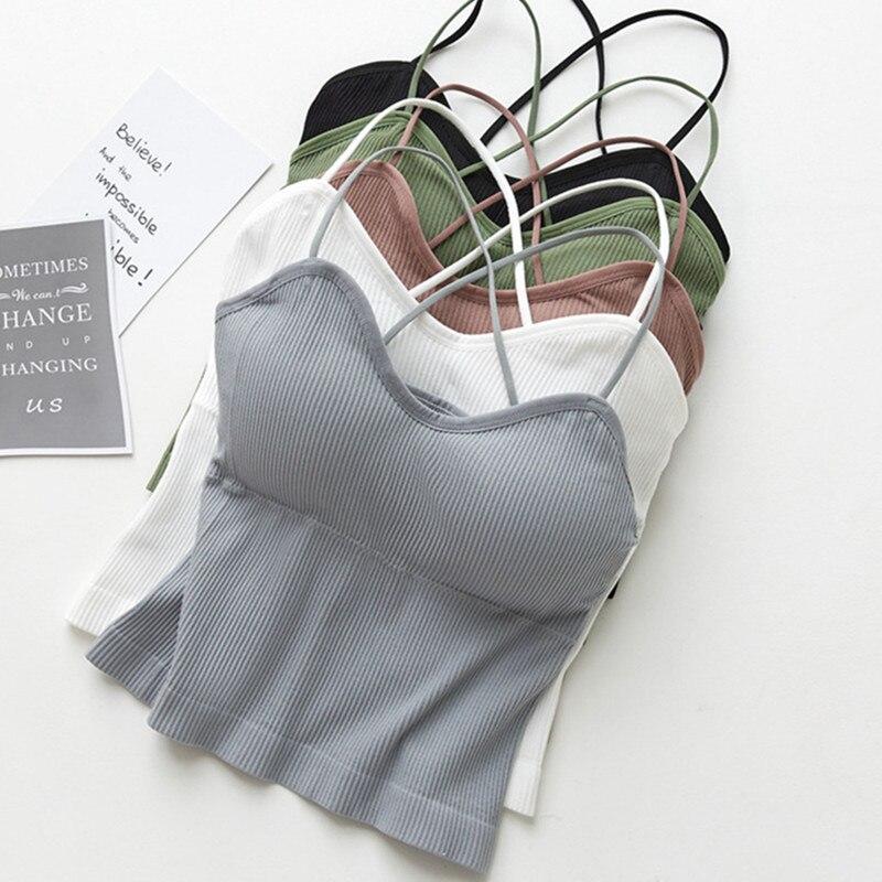 Для женщин Танк Топ трикотажные укороченные топы для женщин, сексуальное нижнее белье, нижнее белье, бесшовное нижнее белье, уличная без рук...