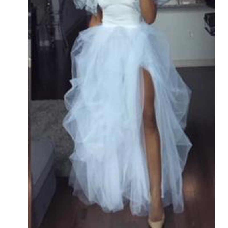 לבן אופנה נשים מקסי Tull חצאית אלסטיות גבוהה מותן Jupes מול פיצול סדיר נסיכת המפלגה טוטו חצאית Saias Mujer Faldas