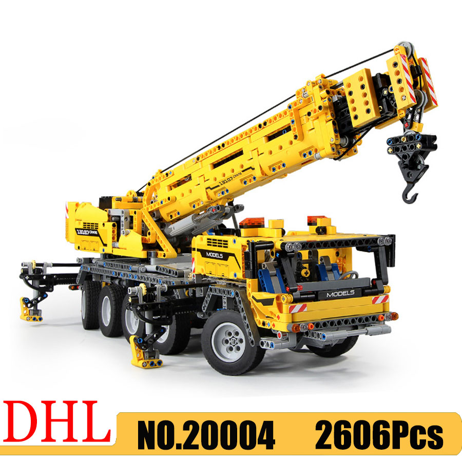 Technic series 20004 Motor Power Mobile Crane Mk II Car Model 2606Pcs Building Blocks Toys Compatible <font><b>42009</b></font> Bricks Gift image