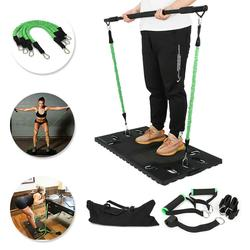 Full Body Workout Equipment w/Ankle Wrist Straps Bands Resistance Bands Collapsible Bar for Home Travel Outside