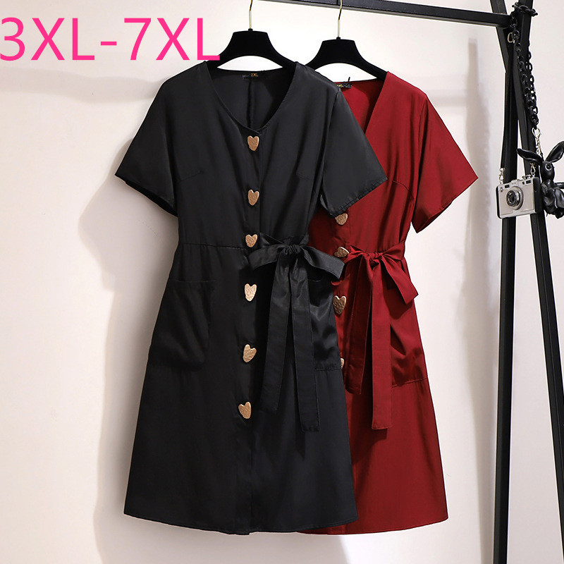 New 2020 Summer Plus Size Mini Dress For Women Short Sleeve Loose Casual Black Red Button Pocket Dress Belt 3XL 4XL 5XL 6XL 7XL