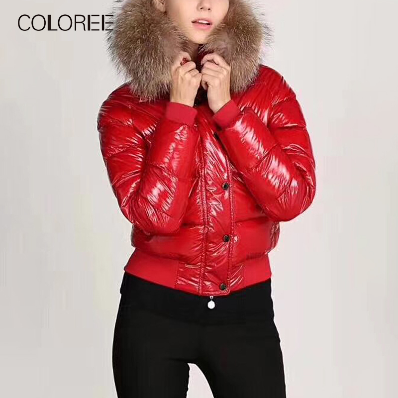 COLOREE 2019 High Quality White Duck   Down   Winter Jacket Womens Thicken Fur Hooded   Coat   Jacket Glossy Outerwear Doudoune Femme