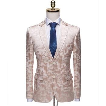 Male Suite 2019 Autumn Classic Brand Blazer Men  High Quality Casual Print Slim Fit Business Suit Jacket Wine red Grey Khaki
