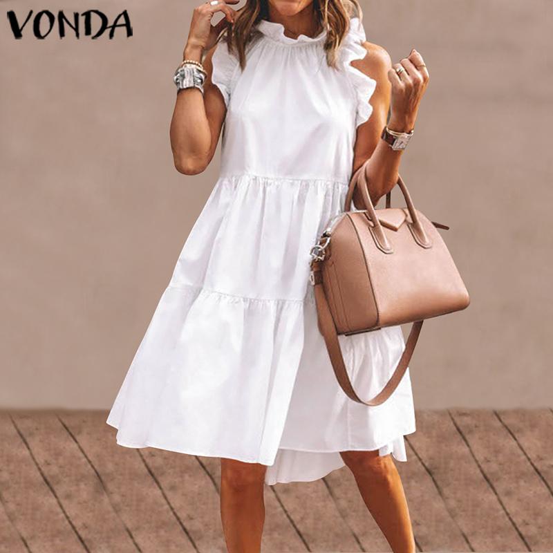 Summer Mini Dress Women Elegant Ruffled Party Dress 2021 VONDA Summer Beach Holiday Sundress Bohemian Vestido Plus Size Robe