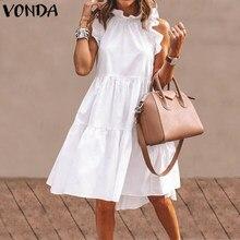 Sommer Mini Kleid Frauen Ärmellose Gekräuselte Party Kleid 2021 VONDA Sommer Strand Urlaub Sommerkleid Bohemian Vestido Plus Größe Robe