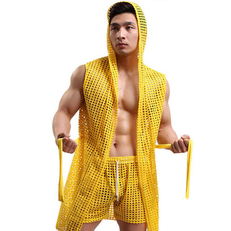 Men Bathrobes Kimono Home Casual Sleepwear See Through Sexy Men Bathrobe Gown Hooded Mantle Pijama Men Homme Badjas Dressing