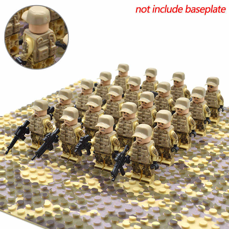 20pcs/set Modern War Special force tactical vest Army US Military Soldiers with Weapons Building Blocks Brick Toys for Kids