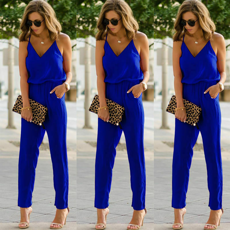 Womens Casual Spaghetti Strap Bodycon Romper Jumpsuit Ladies Fashion Club Bodysuit Long Enterizos Para Mujer Largos Elegantes