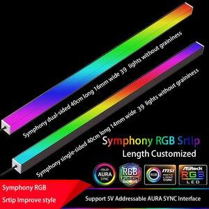 Image 1 - سيمفونية الهيكل أضواء المغناطيسي RGB قطاع 40 سنتيمتر التلوث الغلاف الجوي 5 فولت أو 12 فولت ASUS AURA مزامنة