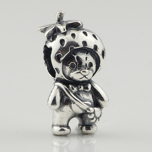 Image 2 - Genuine 925 Sterling Silver Strawberry Bear Charm Beads Fit Original Brand Bracelet Jewelry Vintage Bead for Jewelry Making