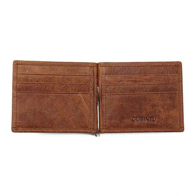 GUBINTU véritable cuir de vachette pince à billets portefeuille hommes Slip métal court portefeuilles hommes mince pochette hommes portefeuille petit sac à main pour homme