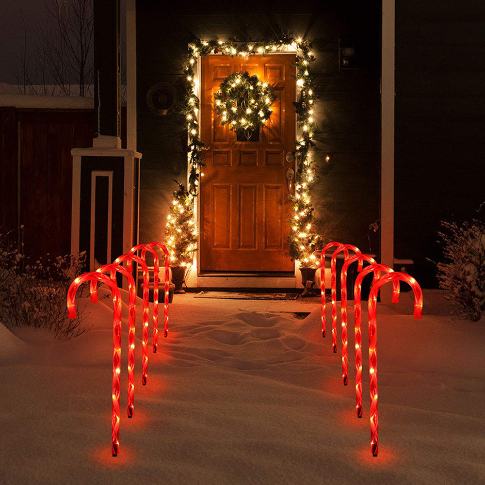 6 Pcs Christmas Light Pathway Candy Cane Walkway Light Solar Powered Street Lamp Outdoor Garden Yard New Year's Decoration Lamp