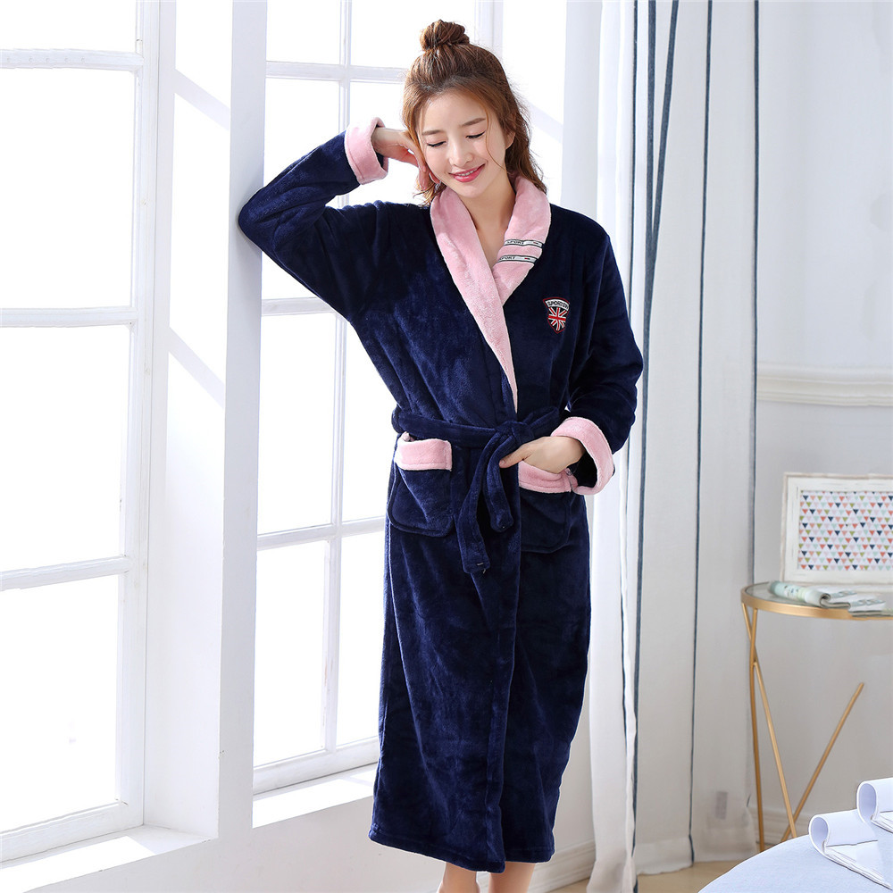 Bathrobe Women Winter Young Lady Flannel Warm Robe Ultra Thicken Home Clothing Sexy Loose Intimate Lingerie Padded Negligee