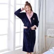 Robe de bain chaude en flanelle pour femmes, chemise de nuit très épaisse, vêtements de maison Sexy, ample, intime, rembourrée et négligée
