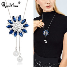 Luxury Big Crystal Simulated Pearl Pendant Necklace For Women 2019 Fashion Sweater Chain Flower Choker Collar Accesorios Mujer(China)