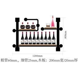 أنبوب حديد وجمعية سبورة خشبية مجموعة أرفف رف شاشة النبيذ الفنية رفوف الحائط للأدوات الزجاجية رف الكتب CF