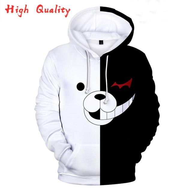 Moletom  Anime Hoodies Danganronpa Hoodie Sweatshirt Long Sleeve 3d Printed Game Clothes  Black White Bear Monokuma Oversized