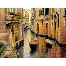 Холст картины маслом Золотой вечер Gondola городской пейзаж работа для гостиной ручная роспись