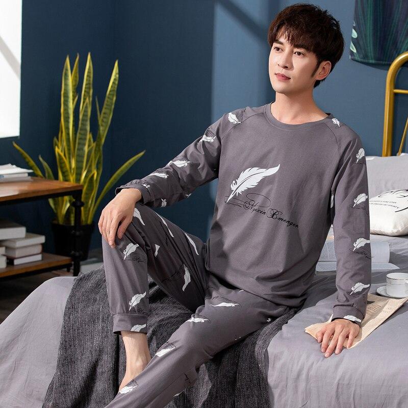 Permalink to Autumn Winter Men's Cotton Pajamas Feather printed Sleepwear Cartoon Pajama Set Casual Sleep&Lounge Pyjamas Plus Size 3XL Pijama